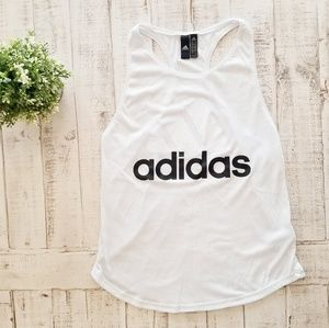Adidas White Three Bar Logo Racerback Tanktop